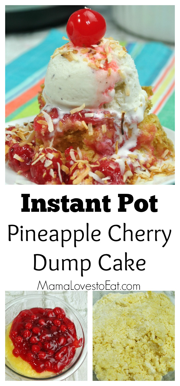Your Instant Pot is for a LOT more than just getting dinner on the table FAST! It can make moist cakes and delicious desserts, like this Instant Pot Pineapple Cherry Dump Cake! Just dump, stir, dump, stir, pour, and GO!