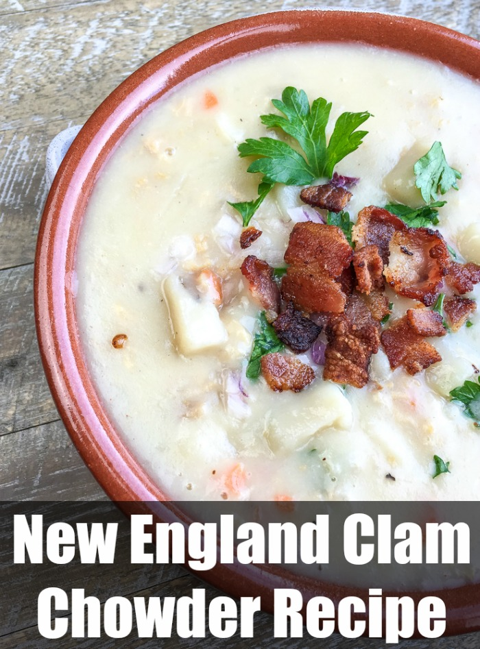 Looking for a delicious New England Clam Chowder recipe? This recipe is flavorful and delicious. It can be made to be a lower fat New England Clam Chowder recipe. This New Englad Clam Chowder recipe will be your new favorite comfort food.