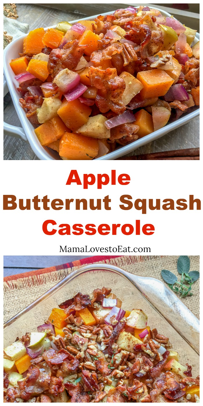 Apple Butternut Squash Casserole with Bacon-Pecan Topping, a paleo side dish, is great for your holidays, Thanksgiving or Christmas, or family dinner.