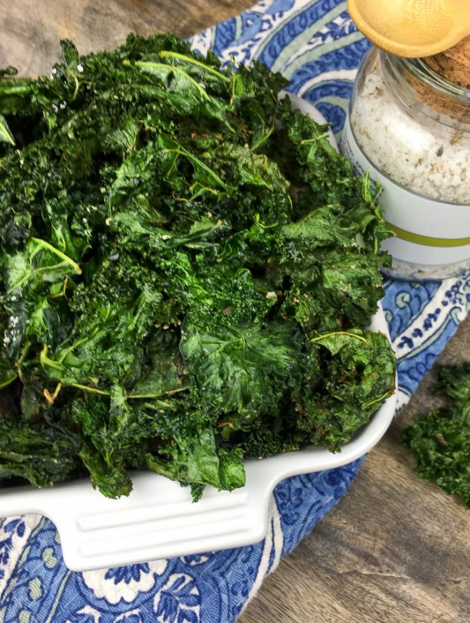 Crispy Kale Chips are healthier than potato chips and are approved on Weight Watchers, low carb or keto diet. Kale Chips are great for having a crunchy go-to snack.