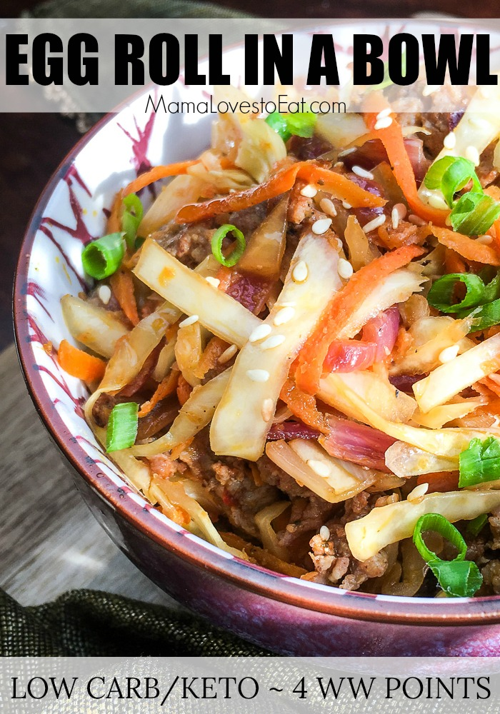 Trying to eat healthier in the New Year? If you love Chinese food and want to make healthy Chinese food at home, you will love this Eggroll in a Bowl. This egg roll recipe is low carb, keto approved and is only 4 Weight Watchers Points. It is perfect for any healthy eating plan.