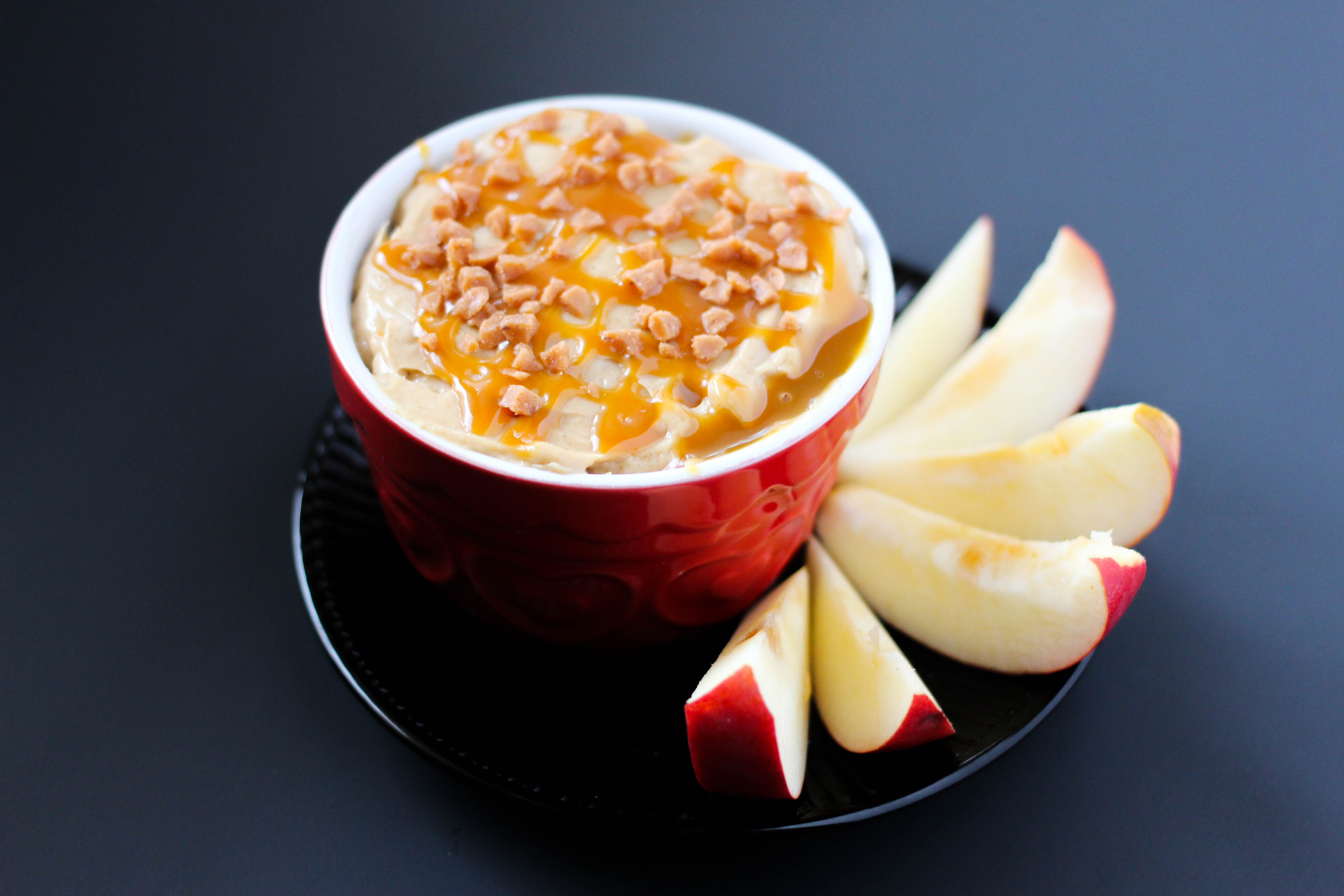 easy apple dip on a plate