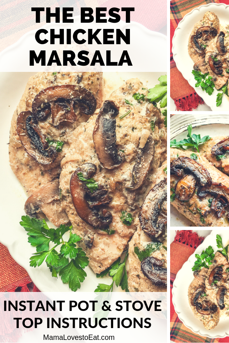 Looking for a recipe for chicken marsala? This is the best chicken marsala recipe and it is made in the Instant Pot, with stove top directions included. This Instant Pot Chicken Marsala is as good as the Olive Gardens but you can make it at home.