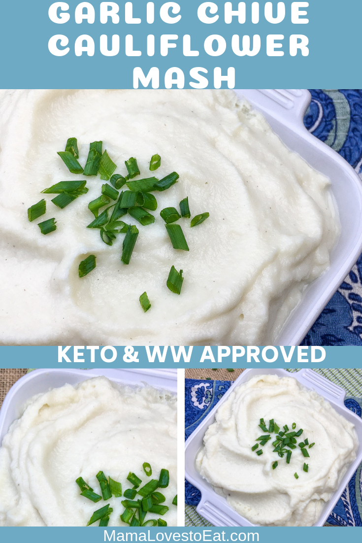 "Looking for a low carb way to have mashed potatoes? While these are not real potatoes, you can still enjoy the flavors. Make these Garlic Chive Cauliflower Mashed ""Potatoes""."