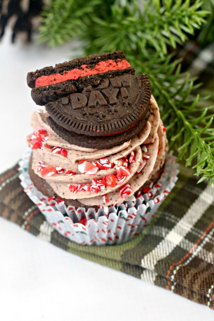 Christmas Oreo Cupcake on a napkin