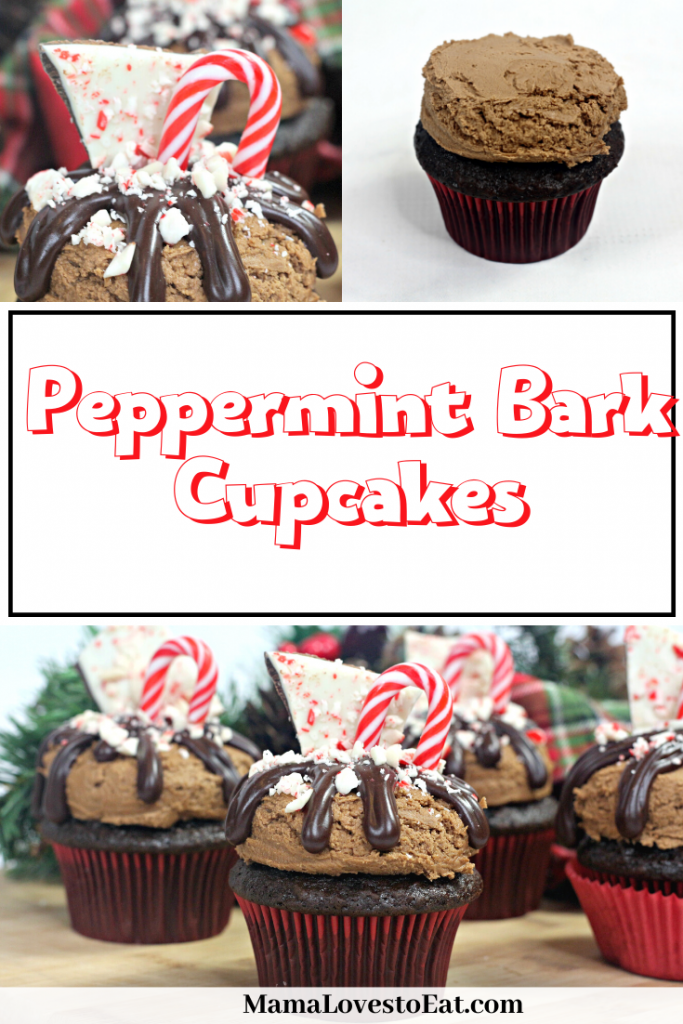 pinterest collage of peppermint bark Christmas cupcakes