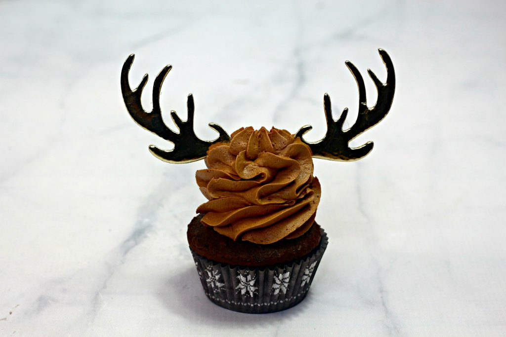 chocolate frosted cupcake with antlers