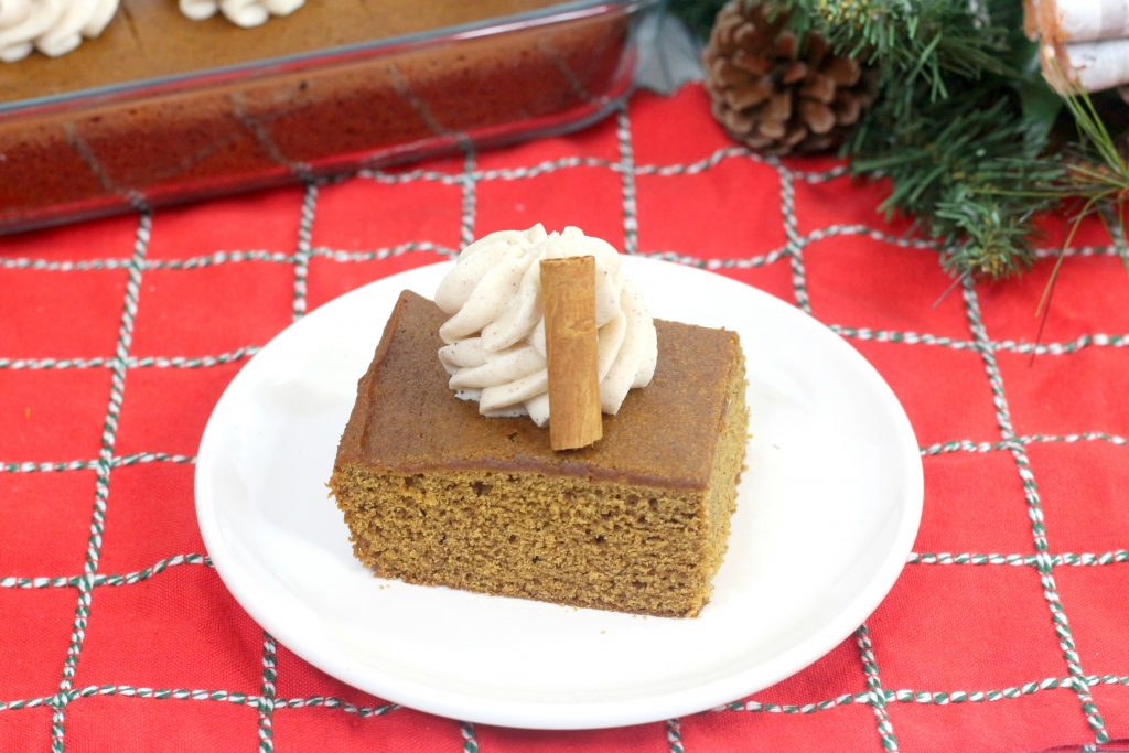 old fashion gingerbread cake on a white plate