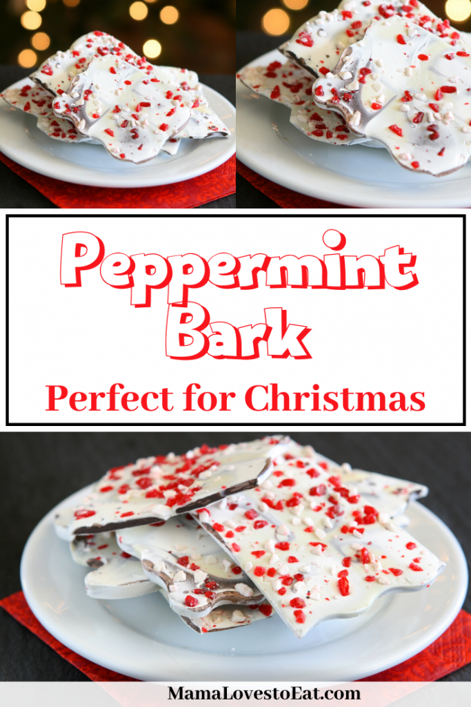 collage of peppermint bark