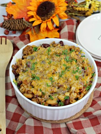 turkey chili mac in a white bowl