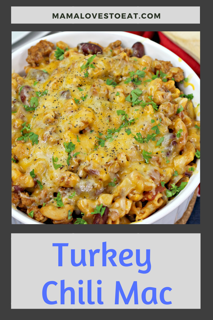 collage of turkey chili mac