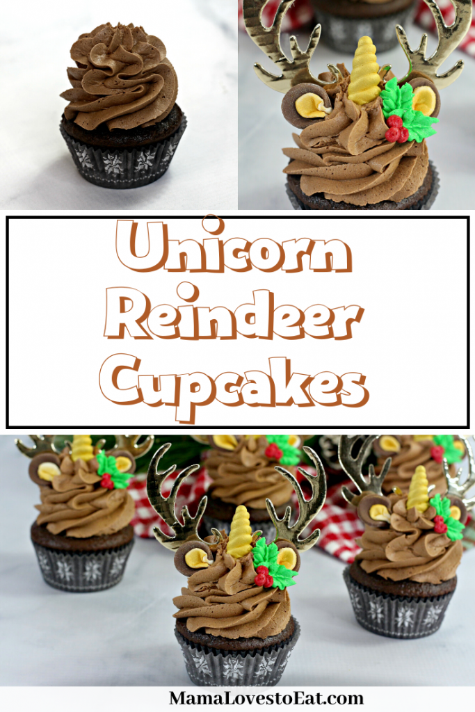 collage of unicorn reindeer cupcakes