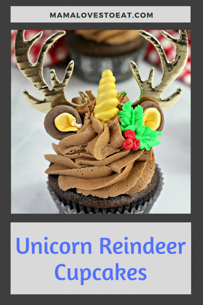 unicorn reindeer cupcake for pinterest