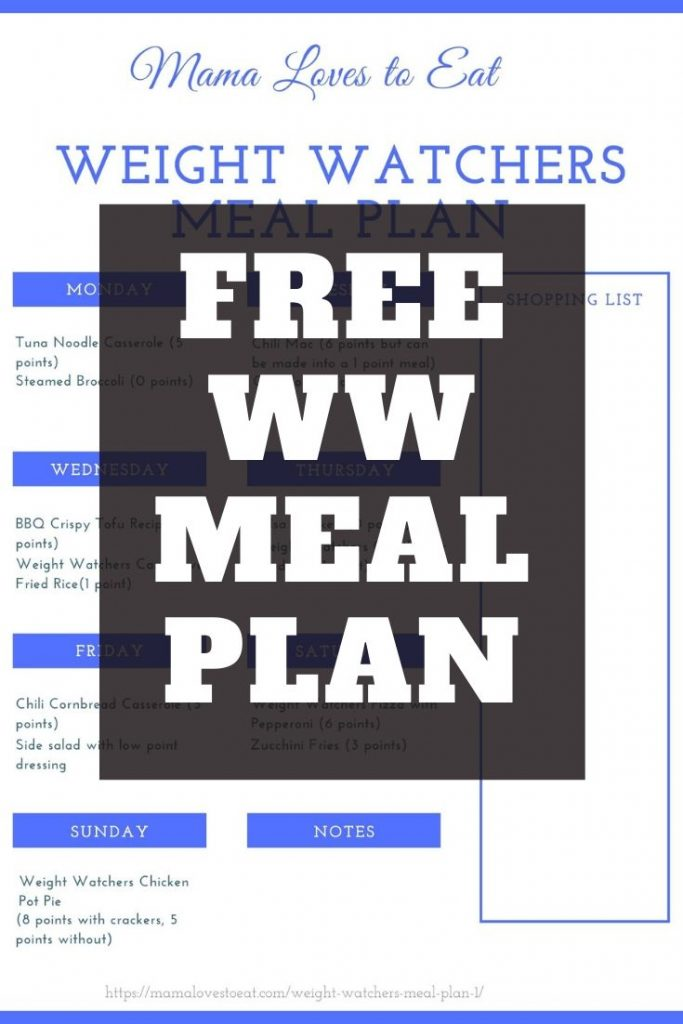 Pinterest image of free weight watcher meal plan