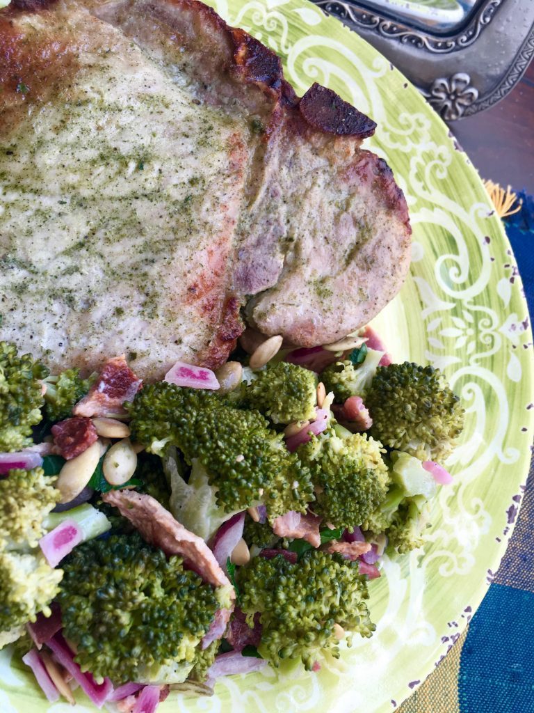 ranch pork chops on a plate with broccoli